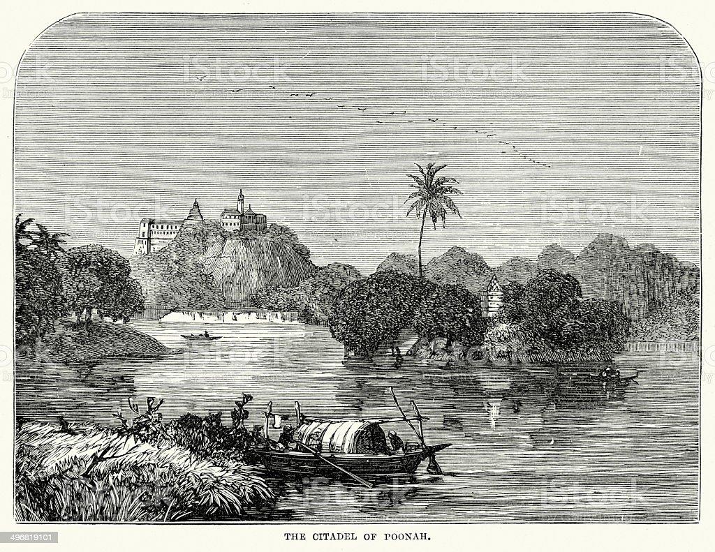 Citadel of Poonah royalty-free stock vector art