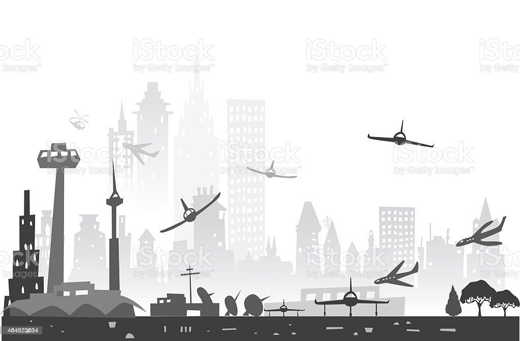 City airport illustration vector art illustration