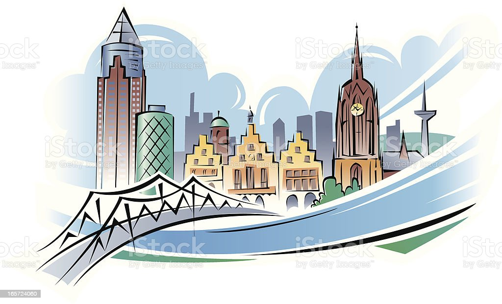 City at a River (Frankfurt Main) royalty-free stock vector art