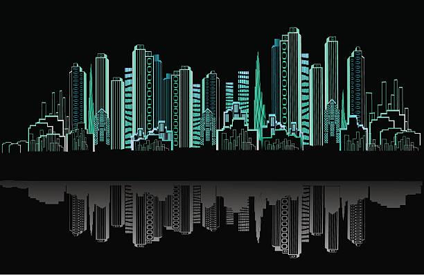 на город ночью - иллюстрации на тему архитектура stock illustrations