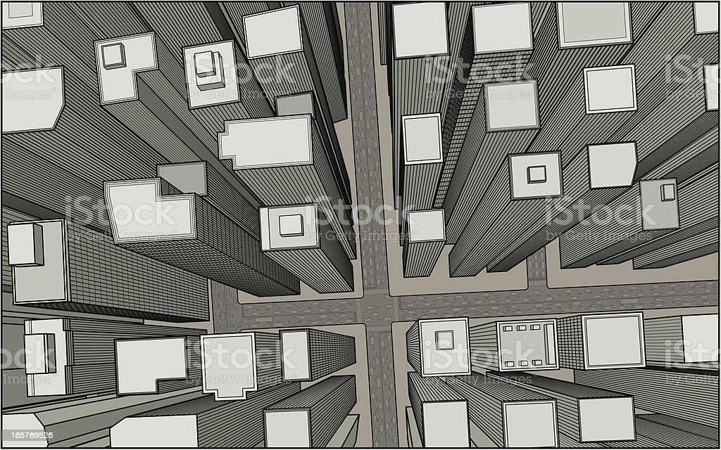 City Below vector art illustration