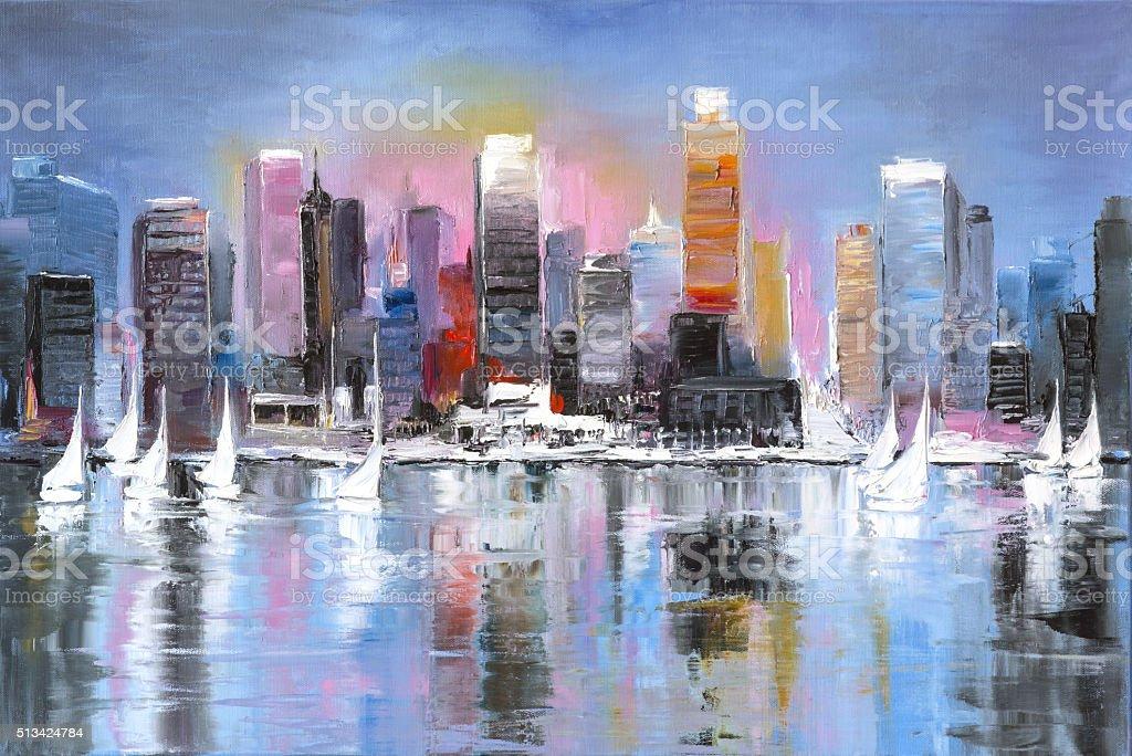 City coast vector art illustration