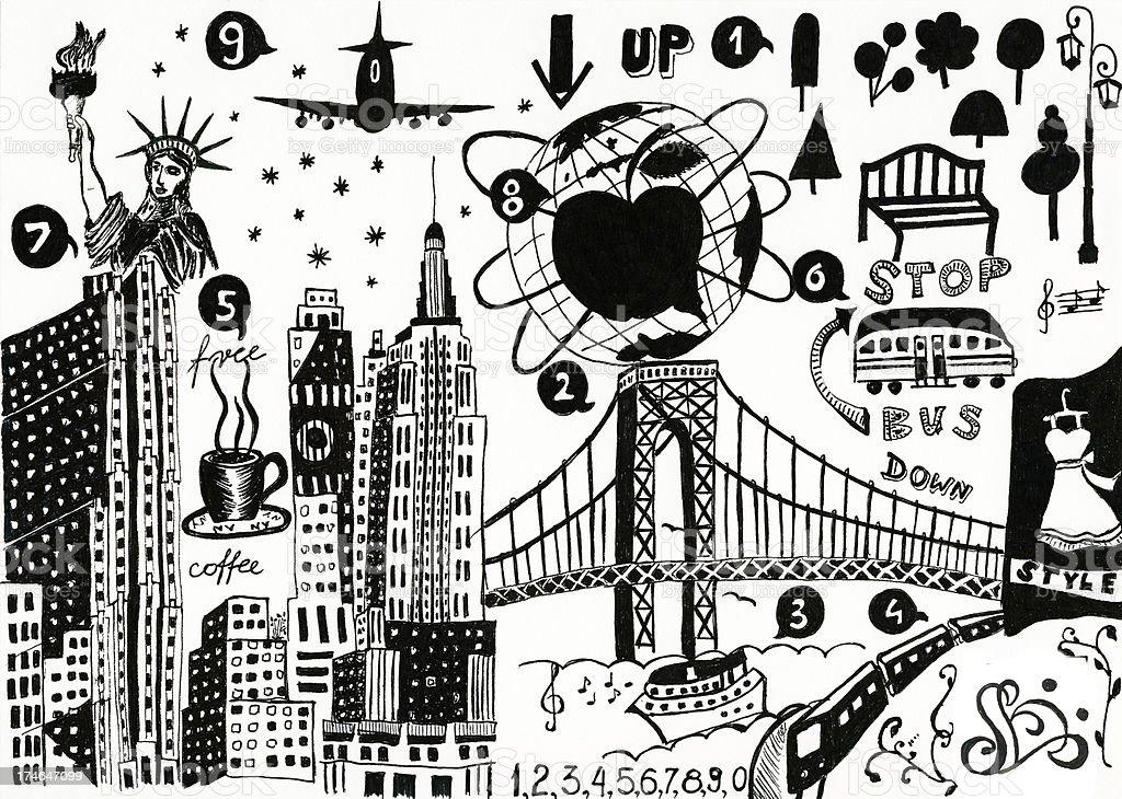 Line Art City : City doodle stock vector art more images of black color