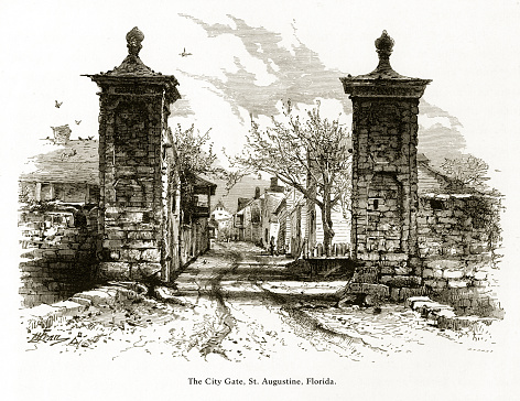 Very Rare, Beautifully Illustrated Antique Engraving of City Gate, St. Augustine, Florida, United States, American Victorian Engraving, 1872. Source: Original edition from my own archives. Copyright has expired on this artwork. Digitally restored.