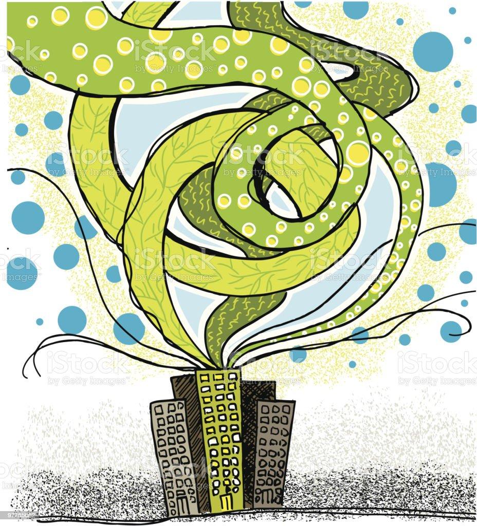 City going green vector art illustration
