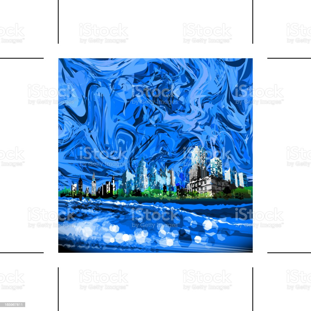 city in blue royalty-free stock vector art