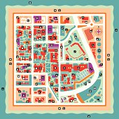 """""""A vector map of a fictional island city with lots of leisure and fun options. The main attractions and points of interest are marked with symbols and icons for restaurants, night clubs, museums, stores, and more!"""""""