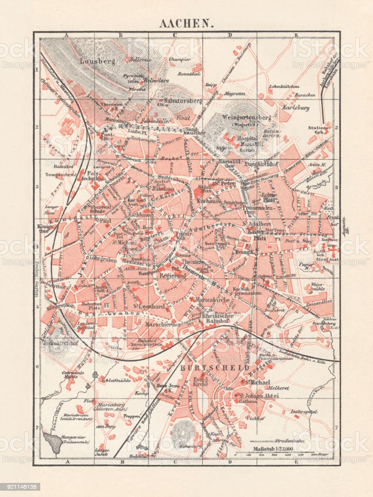 City map of Aachen, Germany, lithograph, published in 1897 vector art illustration