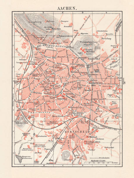 City map of Aachen, Germany, lithograph, published in 1897 City map of Aachen, Germany. Lithograph, published in 1897. lachen stock illustrations