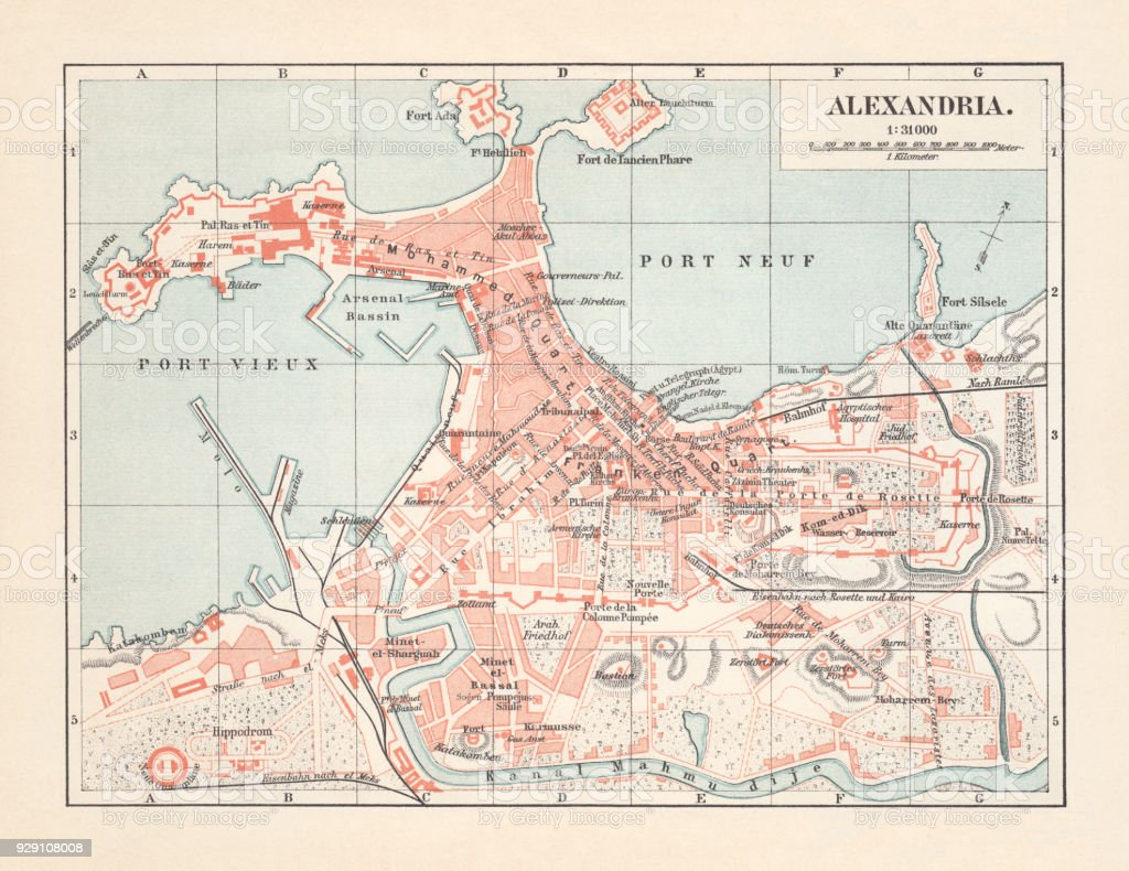 City Map Of Alexandria Egypt Lithograph Published In 1897 Stock