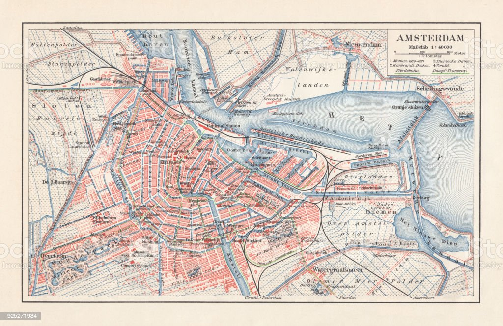 City map of Amsterdam, Netherlands, lithograph, published in 1897 vector art illustration