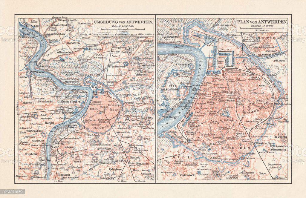 Antwerp Map Europe.City Map Of Antwerp And Surrounding Belgium Lithograph Published