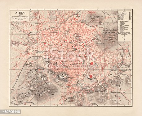 City map of Athens. Lithograph, published in 1881.