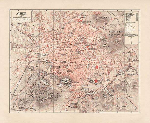 City map of Athens, lithograph, published in 1881 vector art illustration