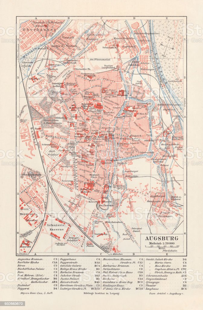 City Map Of Augsburg Bavaria Germany Lithograph Published In 1897