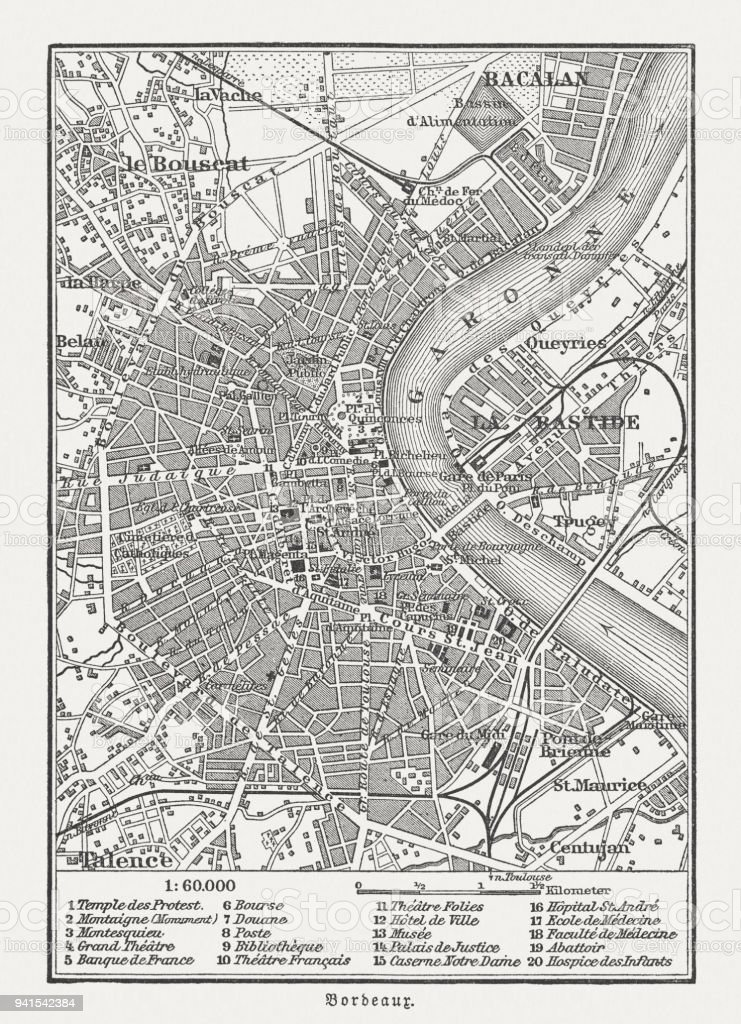 City Map Of Bordeaux France Wood Engraving Published In 1897 Stock