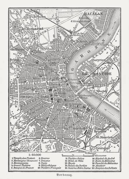 Plan de la ville de Bordeaux, en France, gravure sur bois, publié en 1897 - Illustration vectorielle