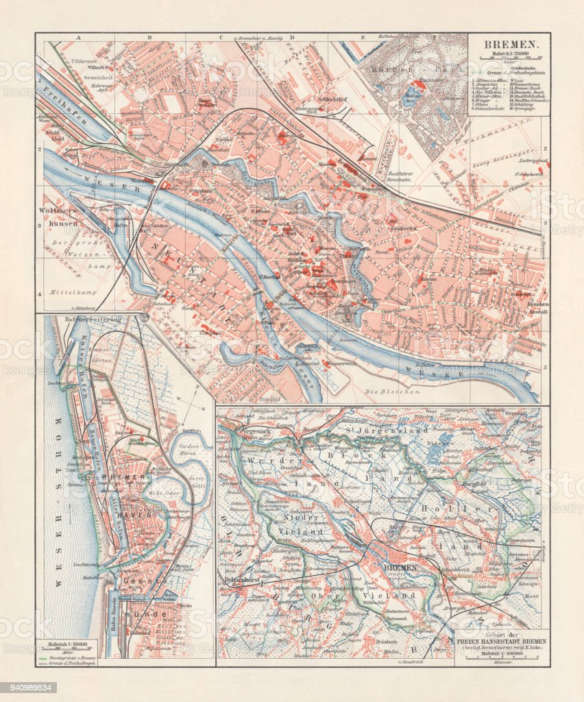 Map Of Bremen Germany.City Map Of Bremen Germany Lithograph Published 1897 Stock