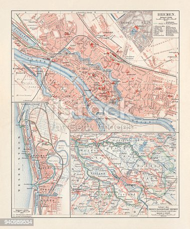 City Map Of Bremen Germany Lithograph Published 1897 Stock Vector ...
