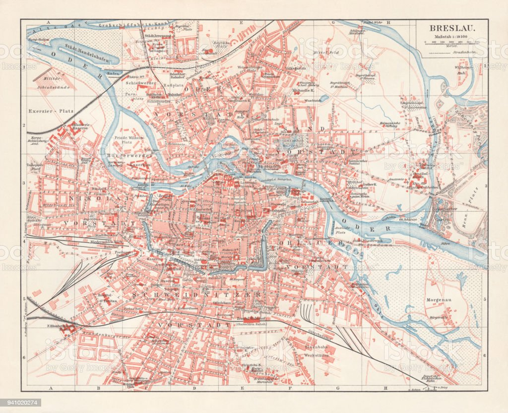 City Map Of Breslau Lithograph Published 1897 Stock Vector Art