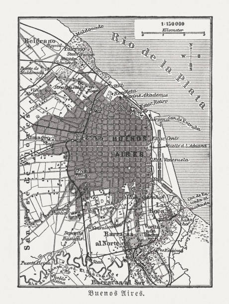 City map of Buenos Aires, Argentina, wood engraving, published 1897 vector art illustration