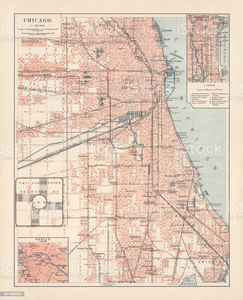 City Map Of Chicago Illinois Usa Lithograph Published In 1897 Stock ...