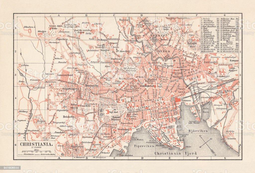 Stadtplan Von Christiania Norwegen Lithographie Veröffentlicht 1897 ...