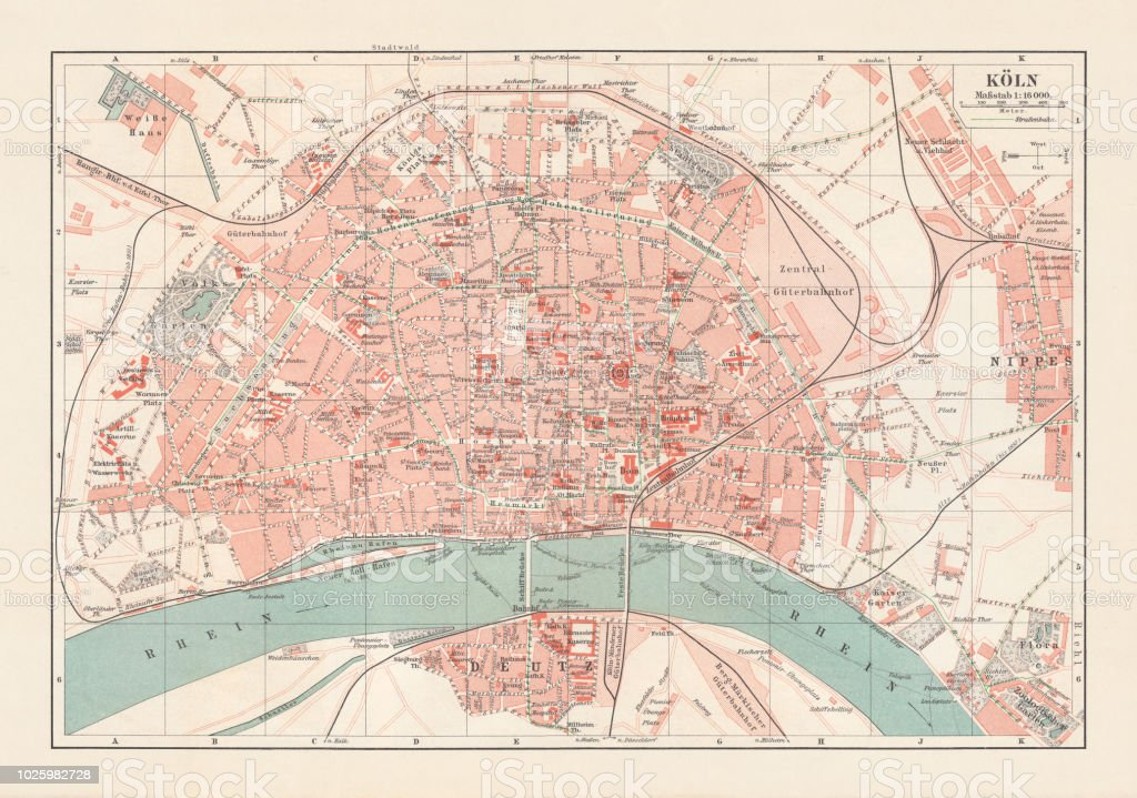 City Map Of Cologne North Rhinewestphalia Germany Lithograph