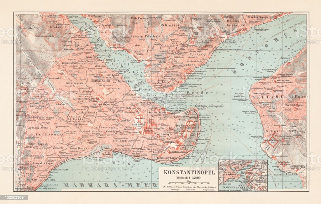 City Map Of Constantinople Lithograph Published In 1897 Stock Vector