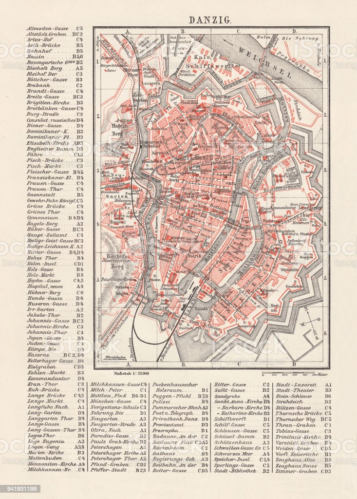 Stadtplan Von Danzig Lithographie Veröffentlicht 1897 Stock Vektor ...