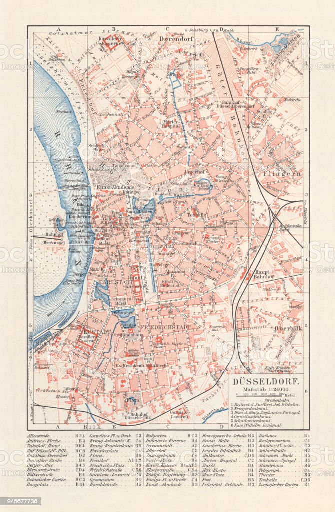 City Map Of Düsseldorf Germany Lithograph Published In 1897 Stock Dusseldorf Germany Map on