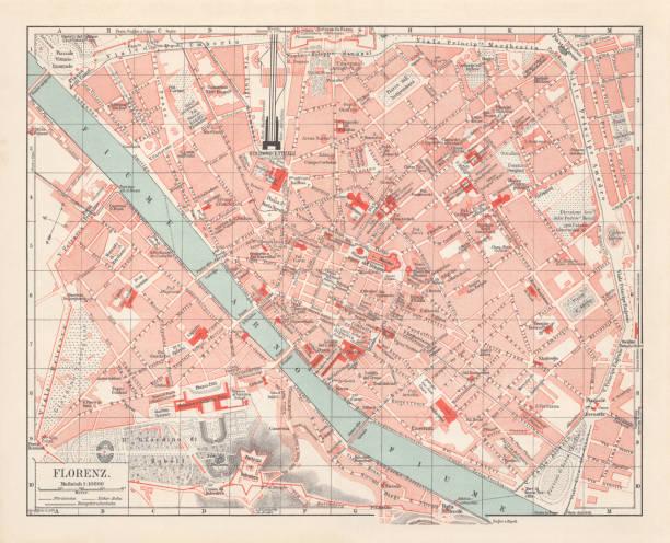illustrazioni stock, clip art, cartoni animati e icone di tendenza di city map of florence, italy, lithograph, published in 1897 - firenze