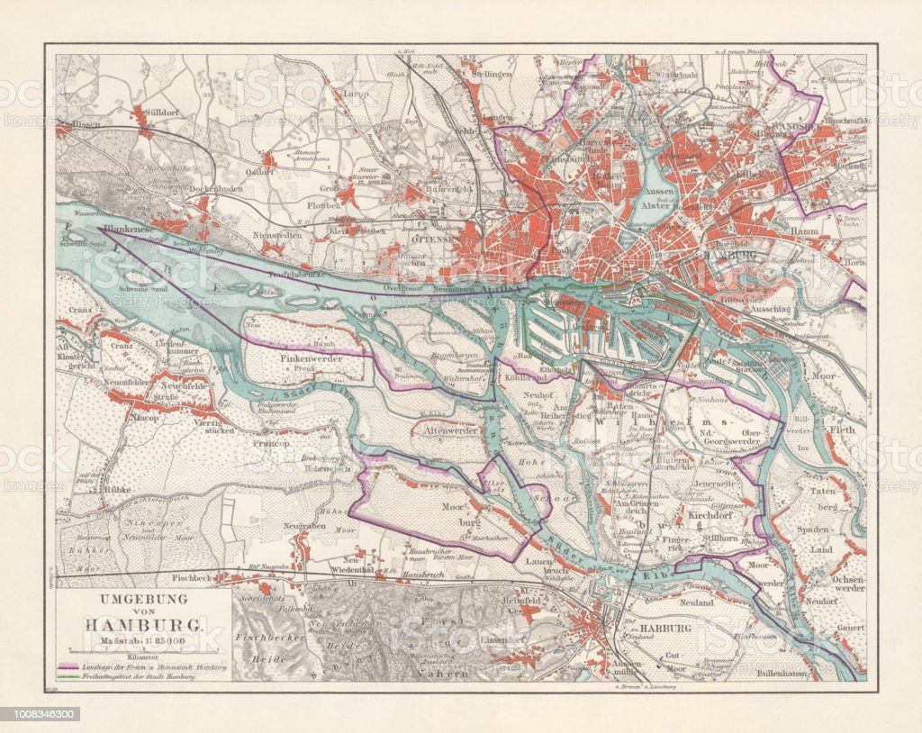 Hamburg Map Of Germany.City Map Of Hamburg And Surroundings Germany Lithograph Published 1897 Stock Illustration Download Image Now