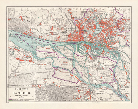 City map of Hamburg and surroundings, Germany, lithograph, published 1897