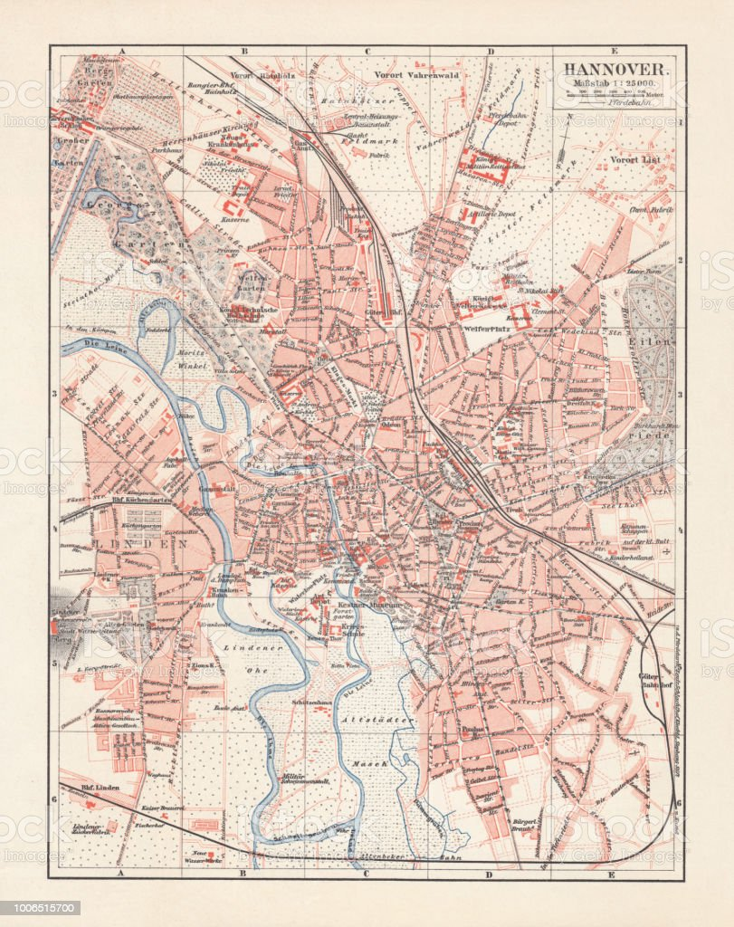 Lower Saxony Germany Map.City Map Of Hannover Lower Saxony Germany Lithograph Published 1897