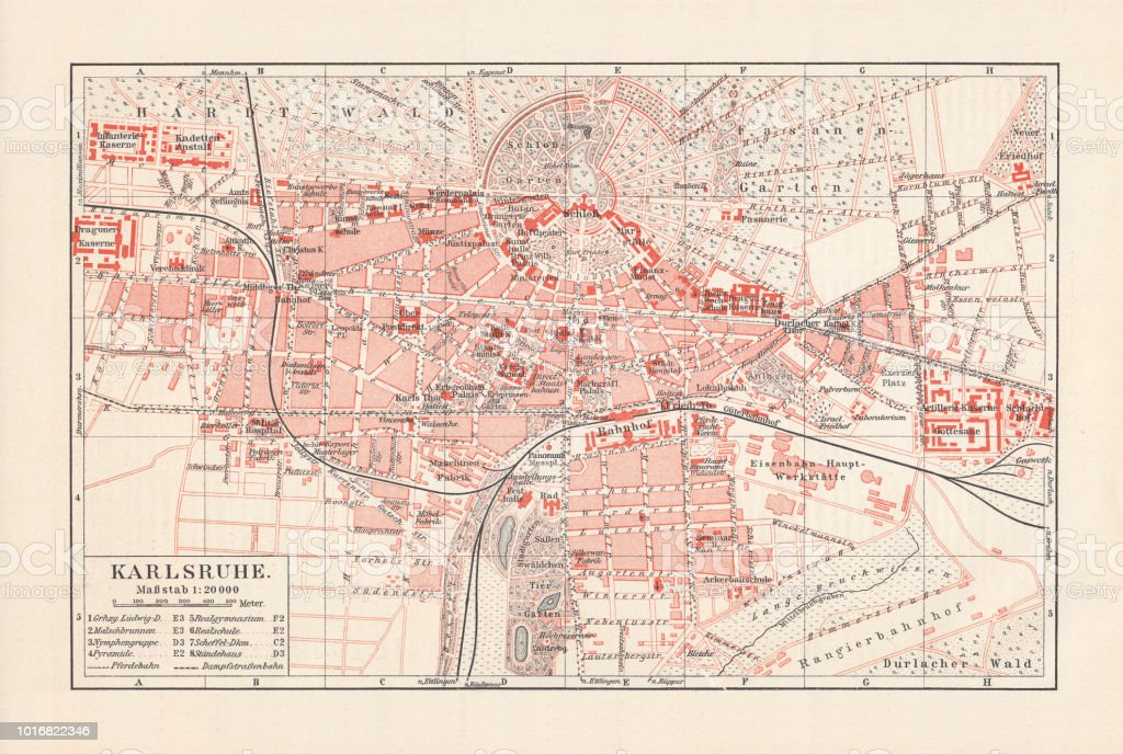 Map Of Germany Karlsruhe Baden.City Map Of Karlsruhe Badenwurttemberg Germany Lithograph Published