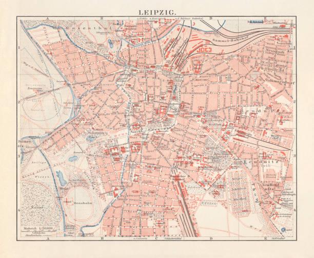 bildbanksillustrationer, clip art samt tecknat material och ikoner med stadskarta över leipzig (sachsen, tyskland), litografi, utkom 1897 - germany map leipzig