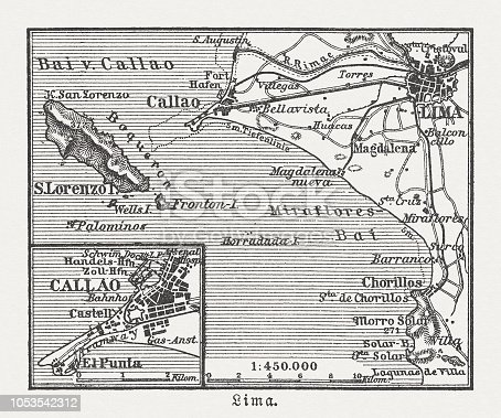 City map of Lima and surroundings, capital and the largest city of Peru. Wood engraving, published in 1897.