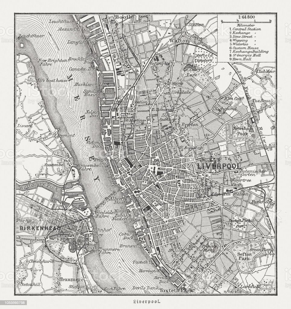 City Map Of Liverpool And Birkenhead England Woodcut ...