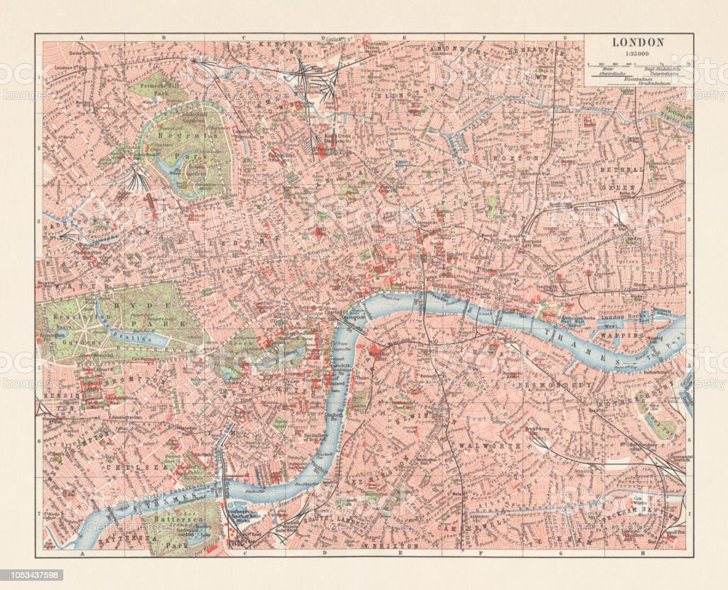 City Map Of London England Downtown District Lithograph Published