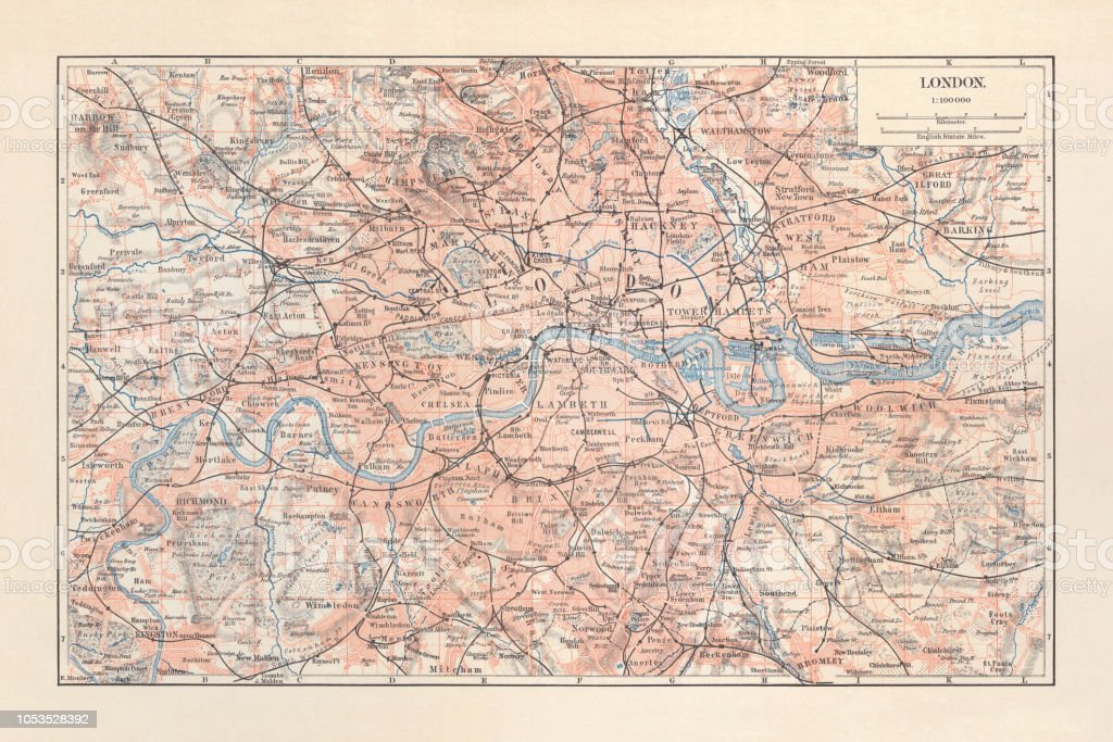 Map Of London And Surrounding Suburbs.City Map Of London With Suburbs England Lithograph Published 1897