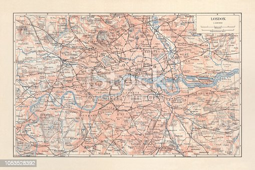 City map of London with suburbs, capital of England and the United Kingdom. Lithograph, published in 1897.