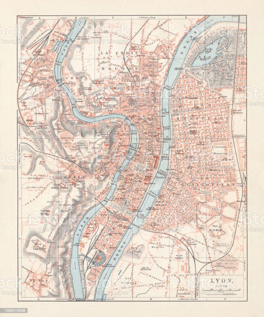 City Map Of Lyon Auvergnerhonealpes France Lithograph Published 1897
