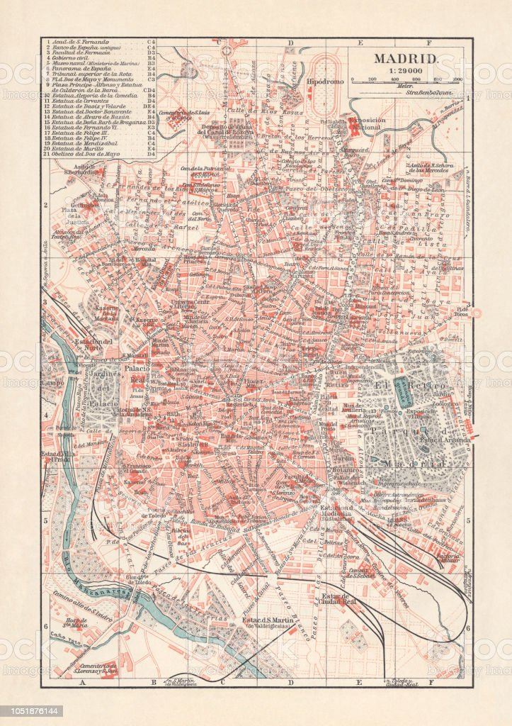 City Map Of Madrid Capital Of Spain Lithograph Published 1897 Stock ...