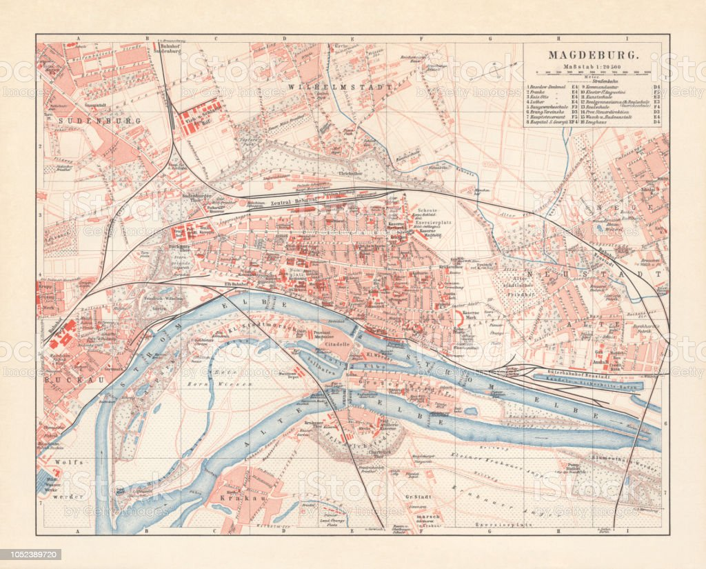 City Map Of Magdeburg Saxonyanhalt Germany Lithograph Published In