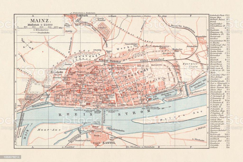 City Map Of Mainz Rhinelandpalatinate Germany Lithograph Published