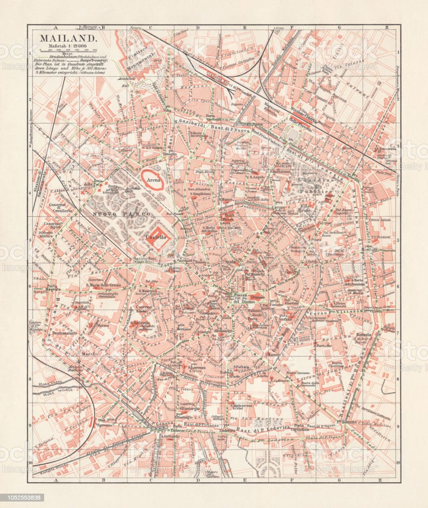 City Map Of Milan Italy Lithograph Published In 1897 Stock Vector ...