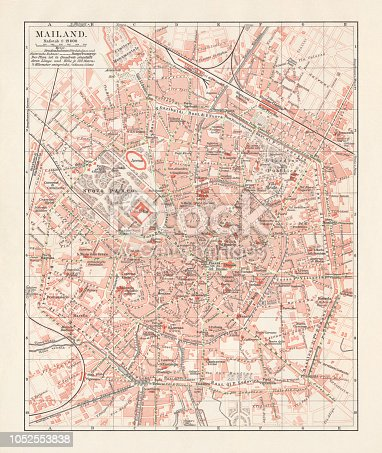 City map of Milan, capital of Lombardy, Italy. Lithograph, published in 1897.
