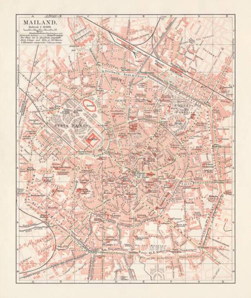 illustrazioni stock, clip art, cartoni animati e icone di tendenza di city map of milan, italy, lithograph, published in 1897 - milan