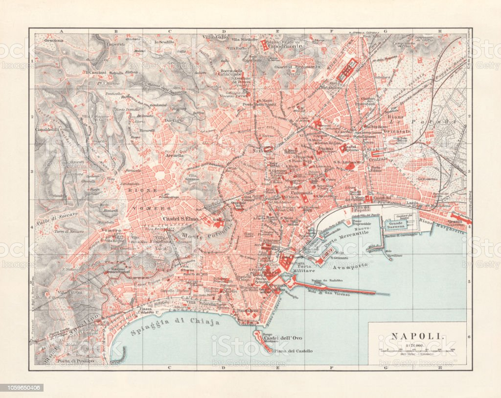 City Map Of Naples Italy Lithograph Published 1897 Stock Vector Art